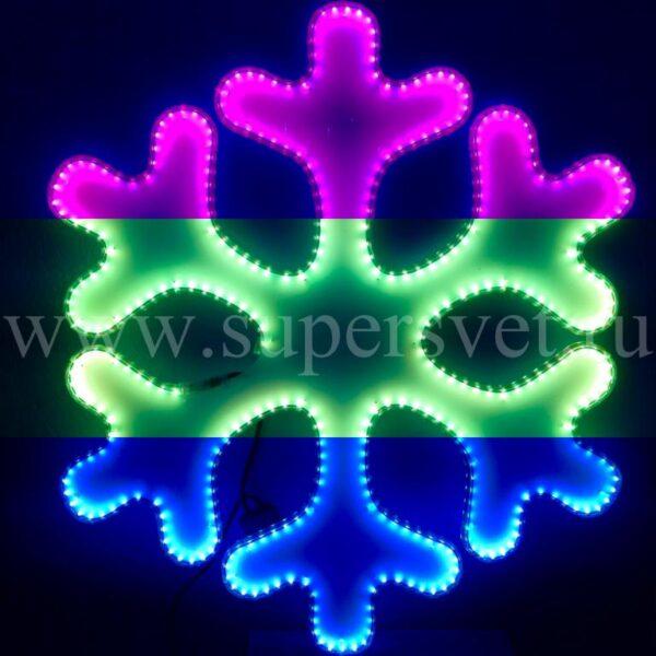 Светодиодная снежинка LED-LT-SNOW- 80 CM-220V-RGB Мощность 45 Вт Размер 0.8 0.7м Цвет ргб