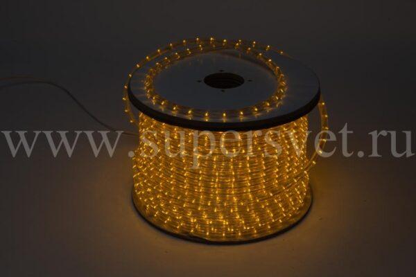 Светодиодный Дюралайт LED-DL-3W-240V-Y Мощность 1,44 Вт/м Кратность резки 4 м Цвет желтый Поперечное сечение 13 мм