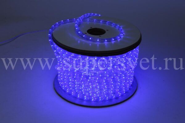 Светодиодный дюралайт LED-DL-2W-240V-B Мощность 2.41 Вт/м Кратность резки 1 м Цвет синий Поперечное сечение 13 мм