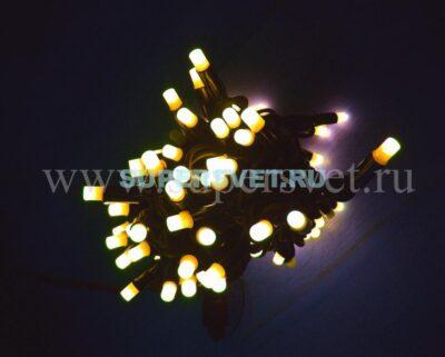 Светодиодная флеш гирлянда стринг лайт FSL-LED-9.2M-220V-WW/BL Мощность 10 Вт Длина 9,2м Напряжение 220 Цвет белый