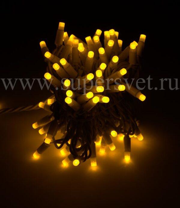 Светодиодная флеш гирлянда стринг лайт FSL-LED-9.2M-220V-Y/W Мощность 10 Вт Длина 9,2м Напряжение 220 Цвет желтый