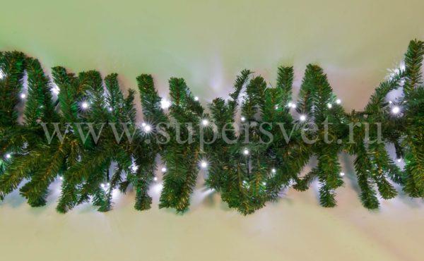 Светодиодная гирлянда с еловым искусственным лапником LED-PL(G)-180-C-240V-W Мощность 24 Вт Длина 3м Напряжение 220 Цвет холодный белый