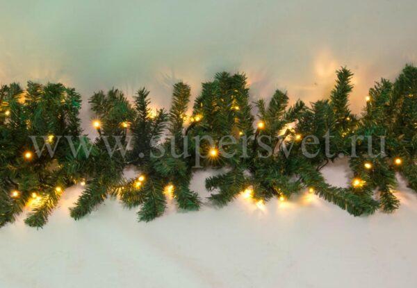 Светодиодная гирлянда с еловым искусственным лапником LED-PL(G)-180-C-240V-WW Мощность 24 Вт Длина 3м Напряжение 220 Цвет теплый белый