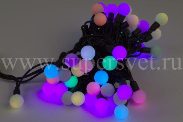 Светодиодная гирлянда шарики SDL-SDL-60F-24V Мощность 12 Вт Длина 10м Напряжение 24 Цвет мульти