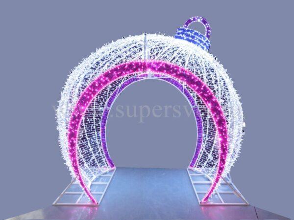 """Светодиодная конструкция """"АРКА-ШАР"""" Размер H260см*L280см*W230см Цвет белый,розовый Напряжение 24 Мощность 450 Вт"""