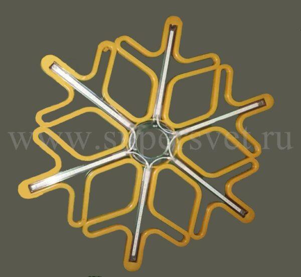 Светодиодная снежинка LED-LT-SNOW-MNL-60СМ-Y/W Напряжение 12 Размер 0.6×0.6 м Цвет желтый