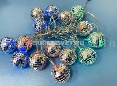 """Электрогирлянда """"зеркальные шары"""" 20015TS-M-P222 Длина 3м Напряжение 24 Цвет мульти"""