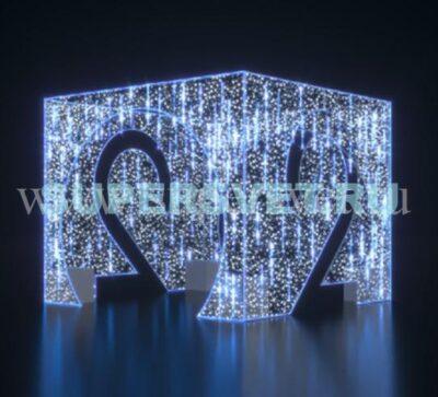 """Светодиодная конструкция """"Куб"""" Тающие сосульки Размер Н = 3 м L = 3,8 м B = 3,8 м Мощность 800 Вт"""