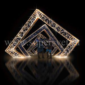 Светодиодная конструкция арка. Высота: 3,5м. Длина: 5,3м. Напряжение: 220 В. Мощность: 450 Вт. Влагозащита: IP 54